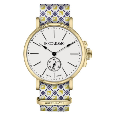 Clock with sartorial strap from micro fantasy yellow and blue and golden buckle