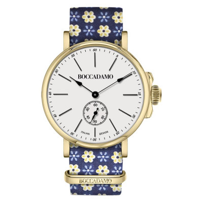 Clock with sartorial strap from the floral theme yellow on blue background and golden buckle