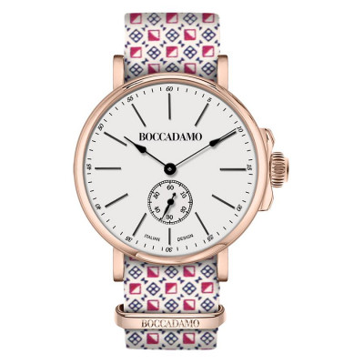 Clock with sartorial strap reason optical and buckle pink