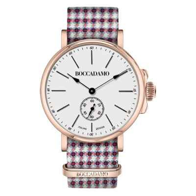 Clock with sartorial strap weft Twill and buckle