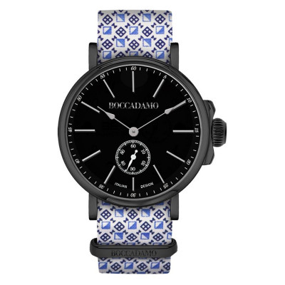 Clock with sartorial strap by reason optical and black buckle