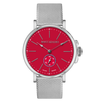 Men's watch with red dial and second counter