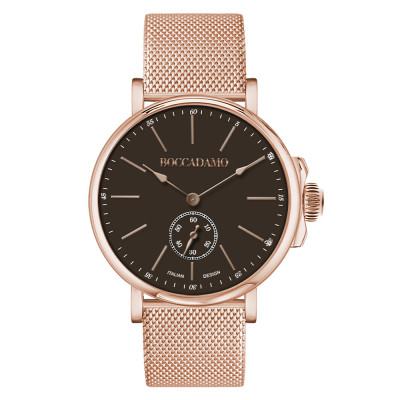 Rose gold-plated men's watch with black dial and second counter