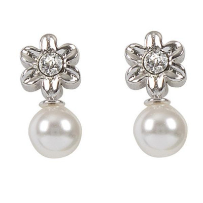 Earrings in the lobe with flower and Swarovski pearl