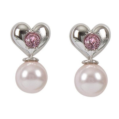 Earrings in the lobe with heart, Swarovski Crystal pink and pearl