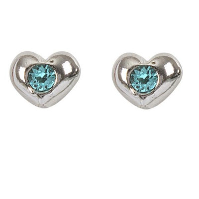 Earrings in the lobe with heart and Swarovski crystal water green