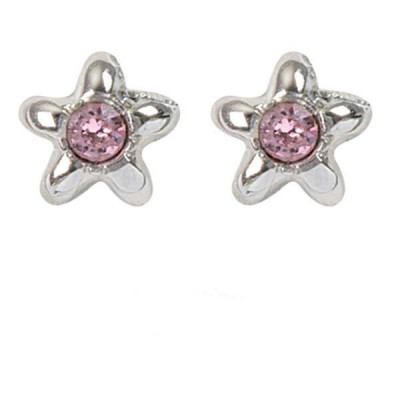 Earrings in the lobe with star and Swarovski Crystal Pink
