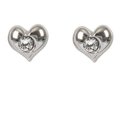 Earrings in the lobe with heart and crystal Swarovski crystal