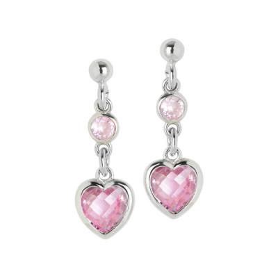 Orecchini in argento con zirconi rosa