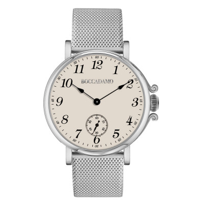 Watch with champagne-colored dial, Arabic numeral hour markers and seconds counter