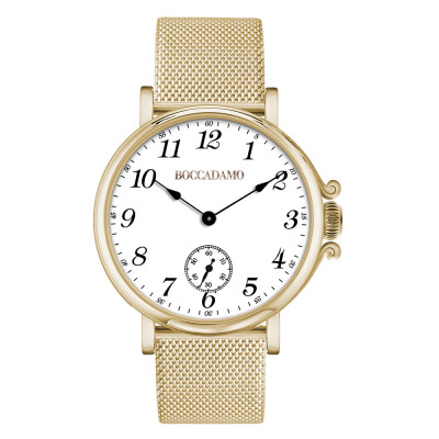 Yellow gold-plated watch, Arabic numeral hour markers and seconds counters