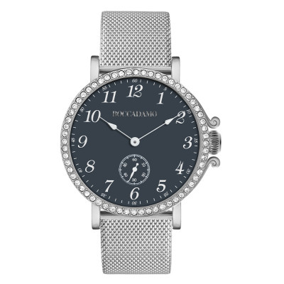 Watch with blue dial, seconds counter and Swarovski bezel