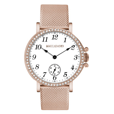 Rose gold-plated watch with seconds counter and Swarovski bezel