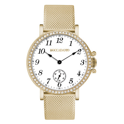Yellow gold-plated watch with seconds counter and Swarovski bezel