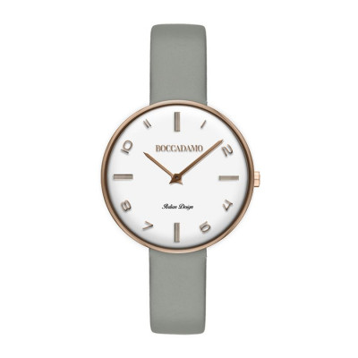 Clock with leather strap gray and white dial