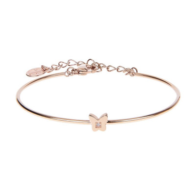 The semirigid Bracelet in pink with throttle and zircon nestled