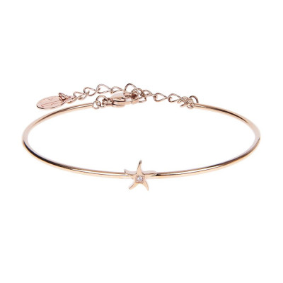 The semirigid Bracelet in pink with star and zircon nestled