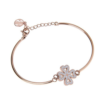 The semirigid Bracelet in pink with central Flower Rhinestone pavèdi