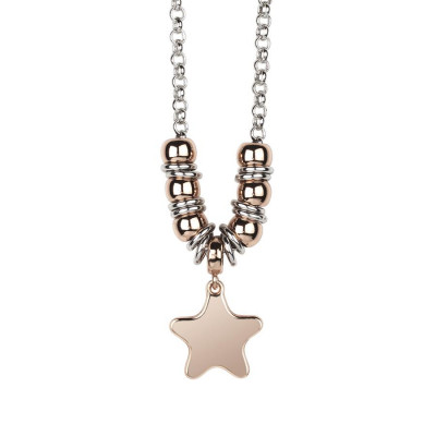 Necklace bicolor with pendant Star Gold plated pink