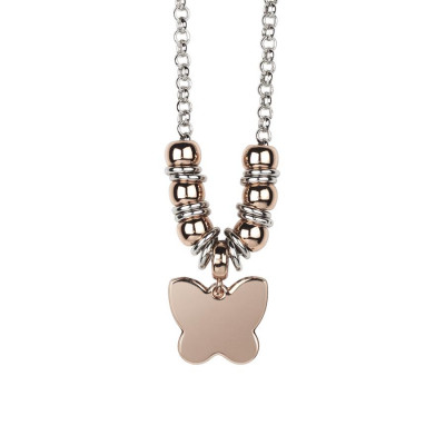 Necklace bicolor with butterfly pendant gold plated pink