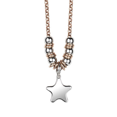 Necklace bicolor with star rhodium plated pendant