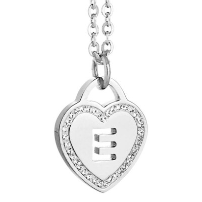 Rhodium plated necklace with heart and letter and perforated