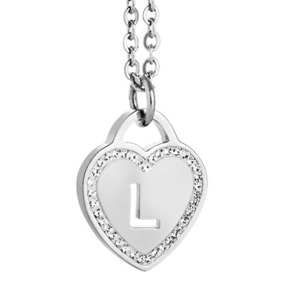 Rhodium plated necklace with heart and letter L perforated