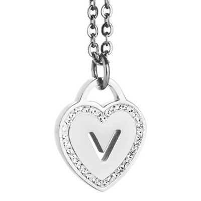 Rhodium plated necklace with heart and letter V perforated