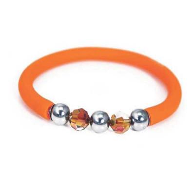 Bracciale in gomma arancione con Swarovski e boules in acciaio