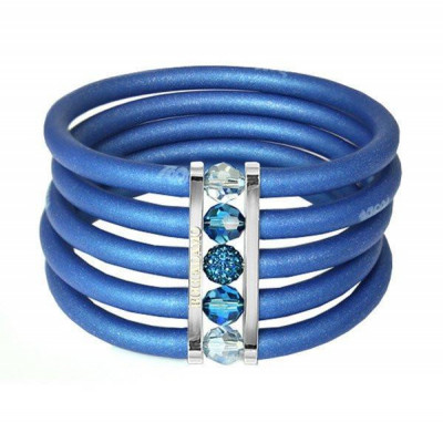Blue rubber bracelet, rhodium plated bronze and Swarovski crystals