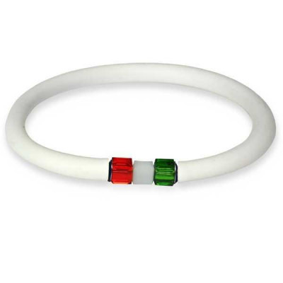 Bracelet in white rubber closure with tricolor cubic in Swaroski