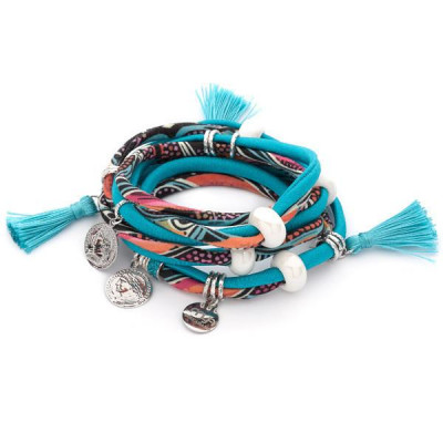 Bracelet in lycra color teal by ethnic fantasies