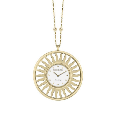 Necklace-clock in bronze plated yellow gold