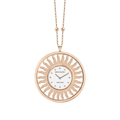 Necklace-clock in bronze plated pink gold