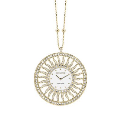 Necklace-clock in bronze plated yellow gold with Swarovski