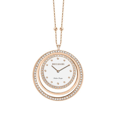 Necklace-clock in bronze plated pink gold with circles in Swarovski
