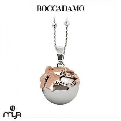 Necklace with sound pendant and cup with rose gold plated bow