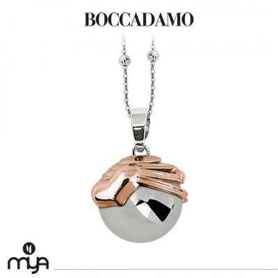 Necklace with sound pendant and cup with rose gold plated heart