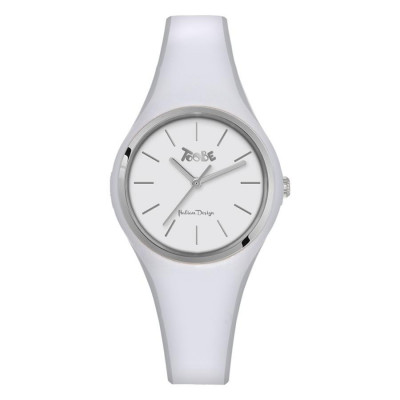 Watch lady in anallergic silicone white and silver ring