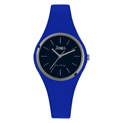 Watch lady in silicone anallergic electric blue and silver ring