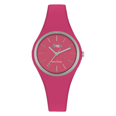 Watch lady in silicone anallergic fuchsia and silver ring
