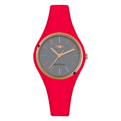 Watch lady in anallergic silicone red strawberry and pink ring
