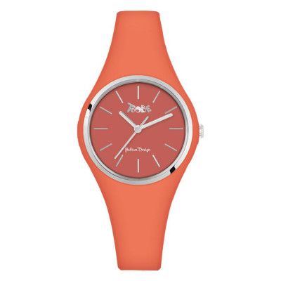 Watch lady in silicone anallergic orange and silver ring