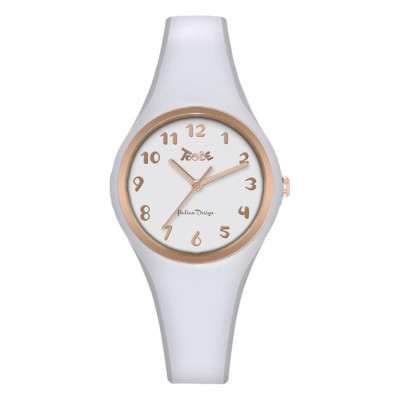 Watch lady in anallergic silicone white, ring and indexes rosati