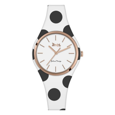 Watch lady in anallergic silicone white with black dots