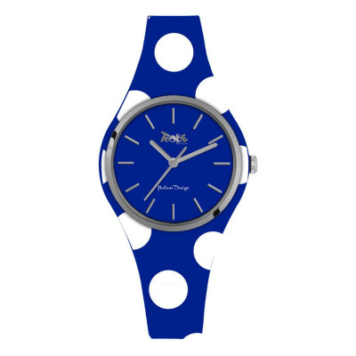 Watch lady in silicone anallergic electric blue with white polka dots