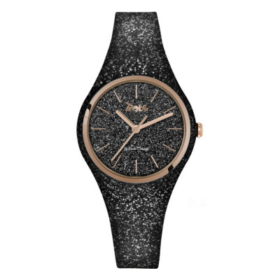 Watch lady of silicone and quadrant glitterato black with pink ring