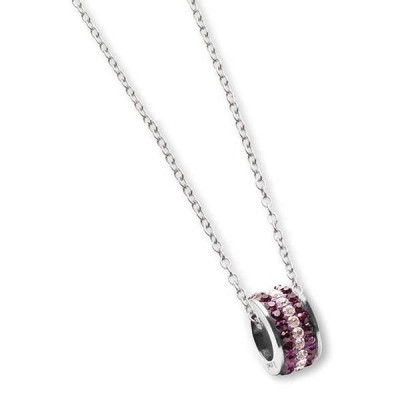 Necklace with passing in rhinestones purple