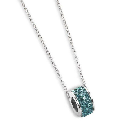 Necklace with passing in rhinestones water green