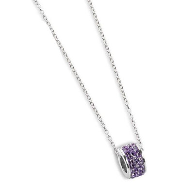 Necklace with passing in rhinestones lilac